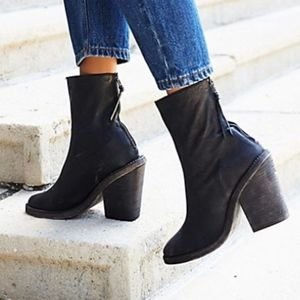 Free People Leather Marquis block heel ankle boot